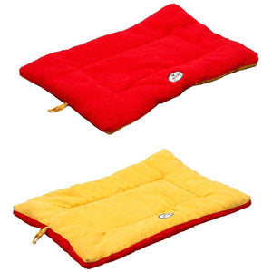 Pet Life ® 'Eco-Paw' Reversible Eco-Friendly Recyclabled Polyfill Fashion Designer Pet Dog Bed Mat Lounge Medium Orange And Red