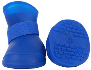 Pet Life ® Elastic Protective Multi-Usage All-Terrain Rubberized Dog Shoes - Set of 4 X-Small Blue