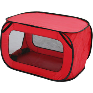 Pet Life ® 'Elongated Camping' Rectangular Mesh Wire-Folding Collapsible Travel Lightweight Pet Dog Crate Tent w/ Built-in Bottle Holder