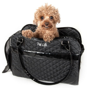 Pet Life ® Exquisite Airline Approved Designer Travel Pet Dog Handbag Carrier Black