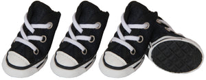 Pet Life ® 'Extreme-Skater' Canvas Casual Grip Pet Dog Shoes Sneakers - Set Of 4 X-Small Navy/White