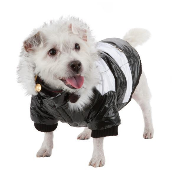 Pet Life ® Fashion Striped 3M Insulated Ultra-Plush Pet Dog Parka Coat w/ Removable Hood
