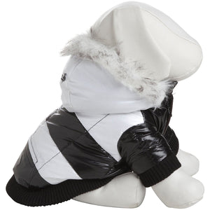 Pet Life ® Fashion Striped 3M Insulated Ultra-Plush Pet Dog Parka Coat w/ Removable Hood X-Small