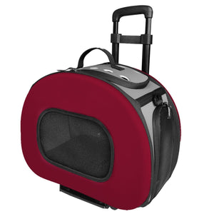 Pet Life ® 'Final Destination' Airline Approved 2-in-1 Tough-Shell Wheeled Collapsible Travel Fashion Pet Dog Carrier Crate Red