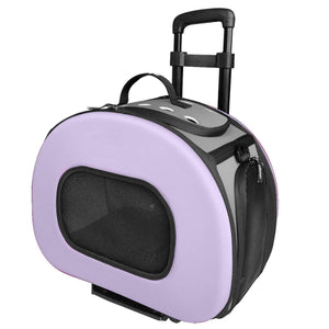 Pet Life ® 'Final Destination' Airline Approved 2-in-1 Tough-Shell Wheeled Collapsible Travel Fashion Pet Dog Carrier Crate Purple