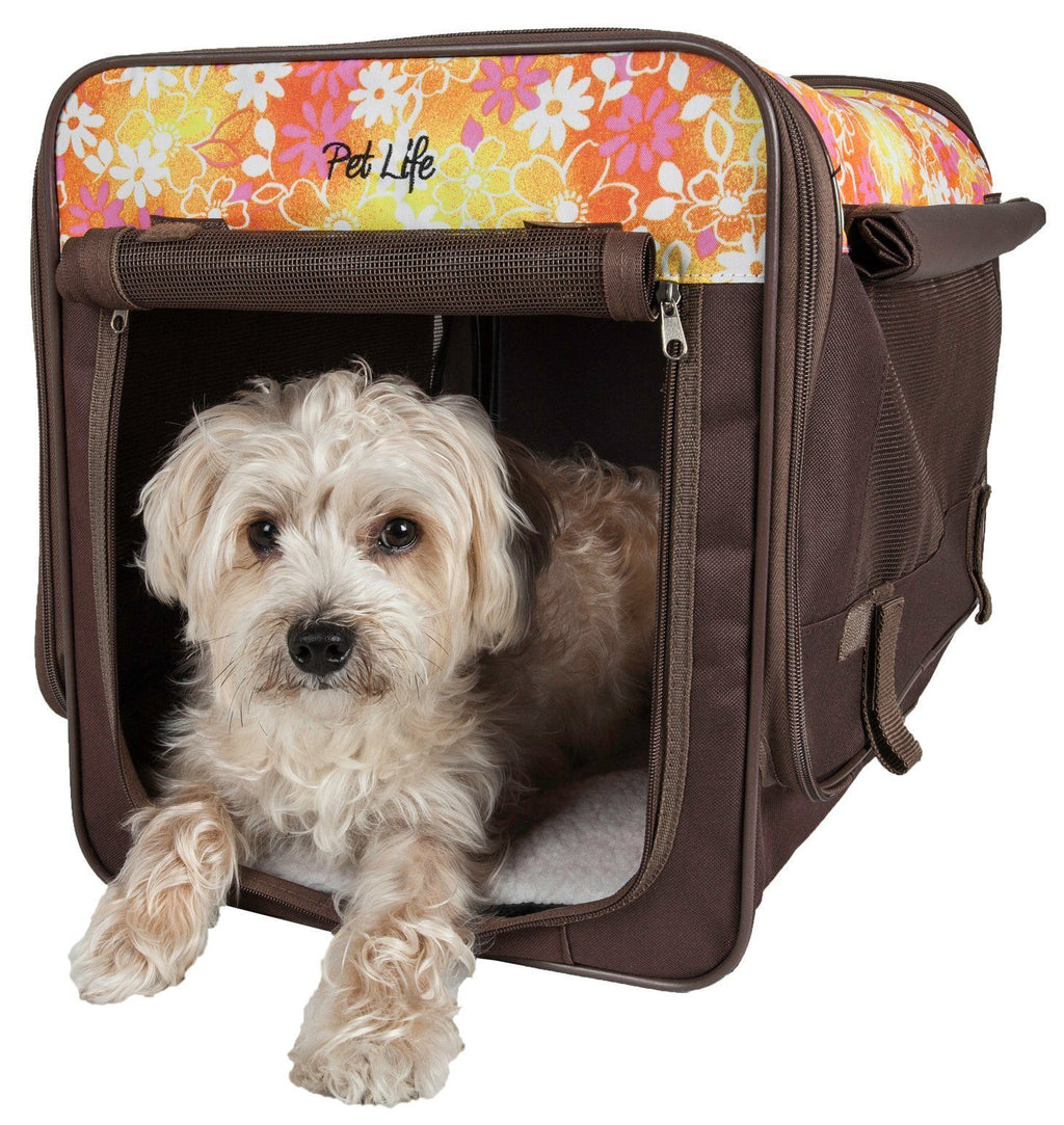 Pet Life ® 'Floral Patterned' Folding Collapsible Lightweight Wire Framed Pet Dog Crate...