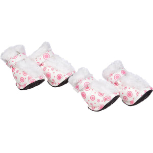 Pet Life ® Fur-Comfort 3M Insulated Fashion Fur and PVC Waterproof Winter Dog Boots - Set of 4 X-Small Pink & White