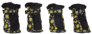 Pet Life ® Fur-Comfort 3M Insulated Fashion Fur and PVC Waterproof Winter Dog Boots - Set of 4