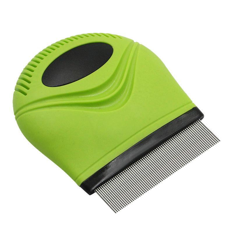 Pet Life ® 'Grazer' Handheld Travel Grooming Cat and Dog Flea and Tick Comb Green