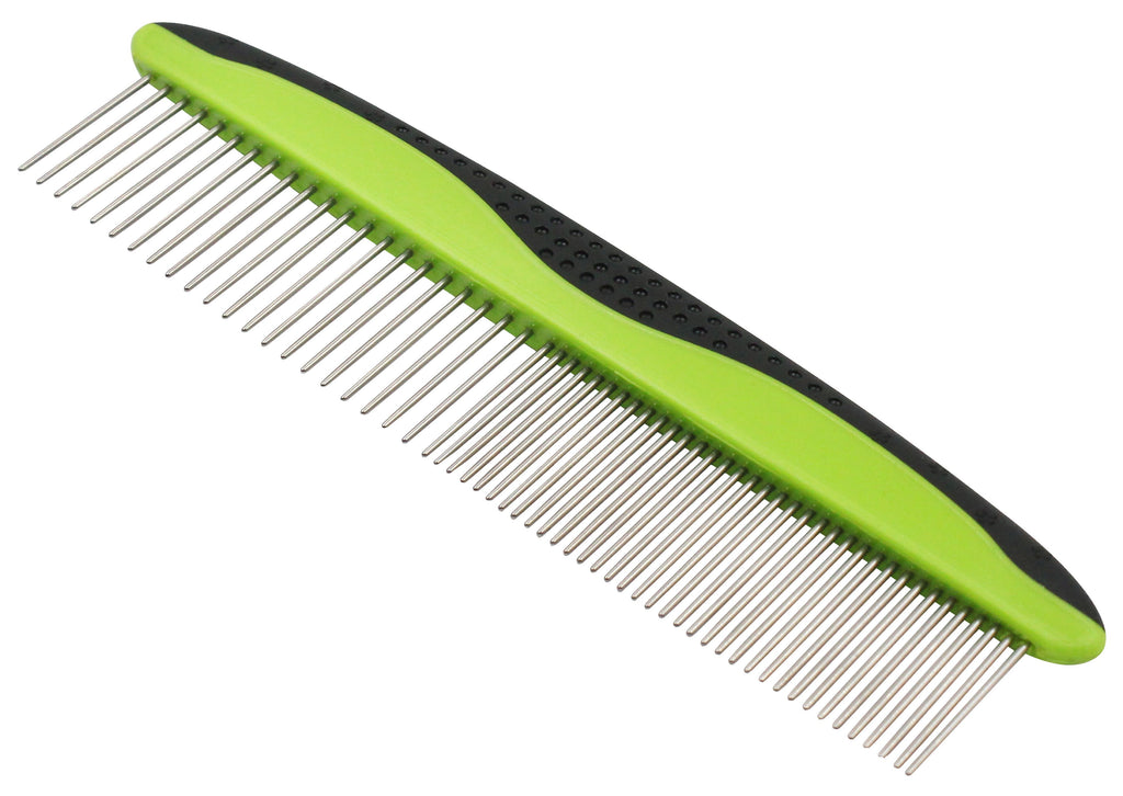 Pet Life ® Grip Ease' Wide and Narrow Tooth Grooming Pet Comb Red
