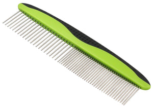 Pet Life ® Grip Ease' Wide and Narrow Tooth Grooming Pet Comb
