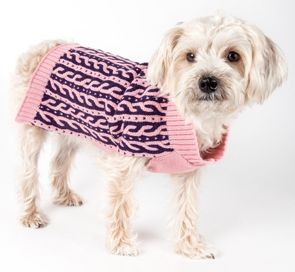 Pet Life ® 'Harmonious' Dual Color Weaved Heavy Cable Knitted Fashion Designer Dog Sweater