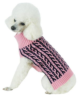 Pet Life ® 'Harmonious' Dual Color Weaved Heavy Cable Knitted Fashion Designer Dog Sweater X-Small Pink And Navy Blue