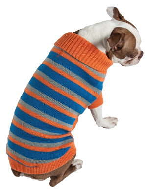 Pet Life ® Heavy Cable Knitted Striped Fashion Designer Polo Dog Sweater