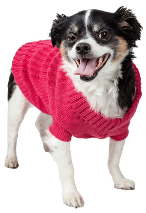 Pet Life ® Heavy Cotton Rib-Collared Fashion Dog Sweater X-Small Light Pink