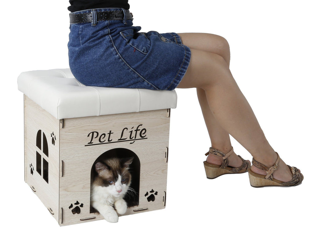 Pet Life ® 'Kitty Kallapse' Collapsible Folding Kitty Cat House Tree Bed Ottoman Bench ...
