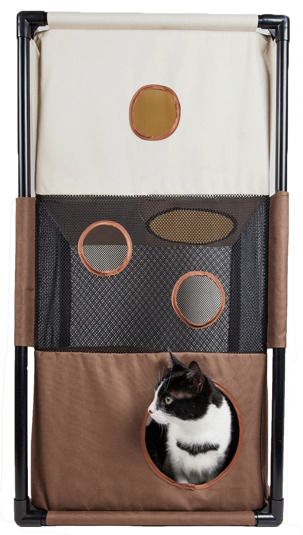 Pet Life ® 'Kitty-Square' Collapsible Travel Interactive Kitty Cat Tree Maze House Loun...