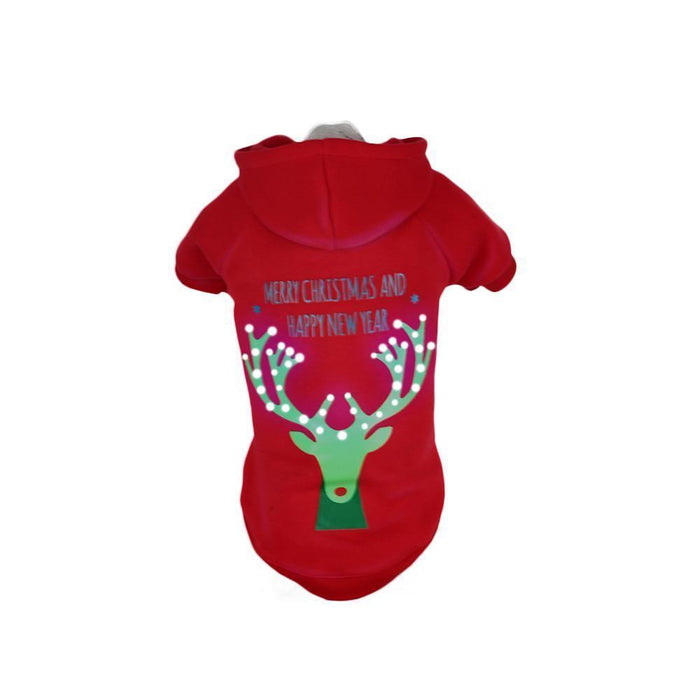 Pet Life ® LED Lighting 'Christmas Reindeer' Hooded Dog Costume Sweater w/ Included Batteries