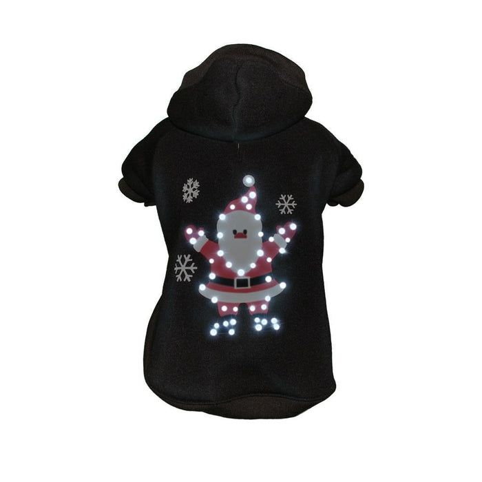 Pet Life ® LED Lighting 'Juggling Santa' Hooded Dog Costume Sweater w/ Included Batteries