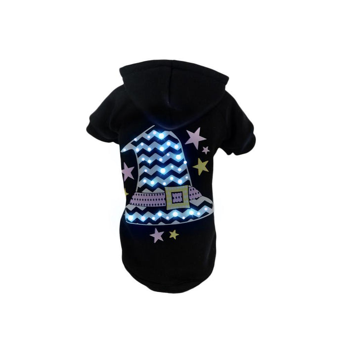 Pet Life ® LED Lighting 'Magical Hat' Hooded Dog Costume Sweater w/ Included Batteries