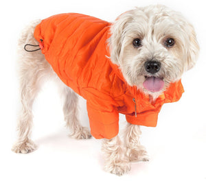 Pet Life ® Lightweight Adjustable and Collapsible 'Sporty Avalanche' Dog Coat w/ Pop-out Zippered Hood X-Small Orange