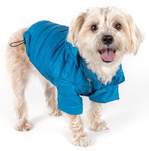 Pet Life ® Lightweight Adjustable and Collapsible 'Sporty Avalanche' Dog Coat w/ Pop-out Zippered Hood X-Small Blue