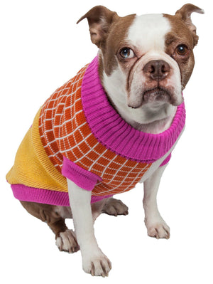 Pet Life ® 'Lovable-Bark' Heavy Knitted Ribbed Fashion Designer Dog Sweater