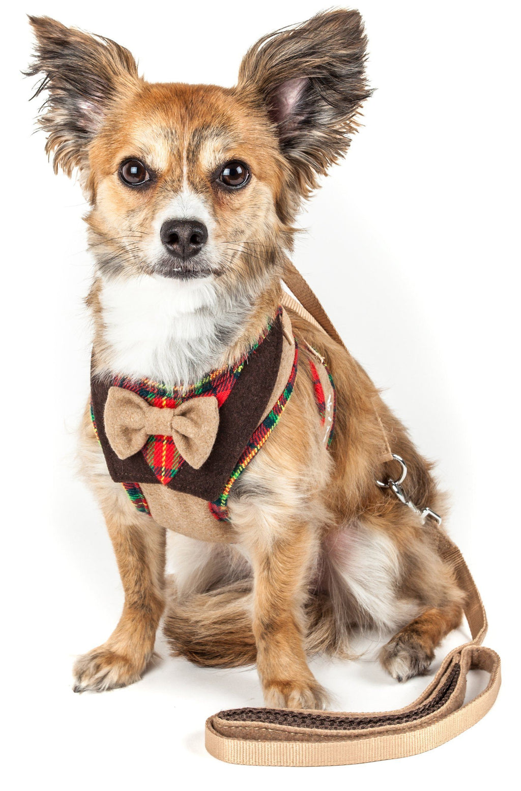 Pet Life ®  Luxe 'Dapperbone' 2-In-1 Mesh Reversed Adjustable Dog Harness-Leash W/ Fashion Bowtie X-Small