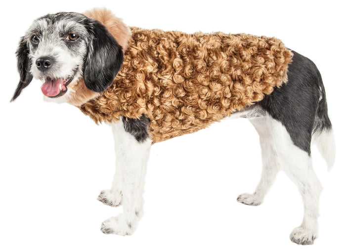 Pet Life ® Luxe 'Furpaw' Shaggy Elegant Fashion Designer Fur Dog Coat