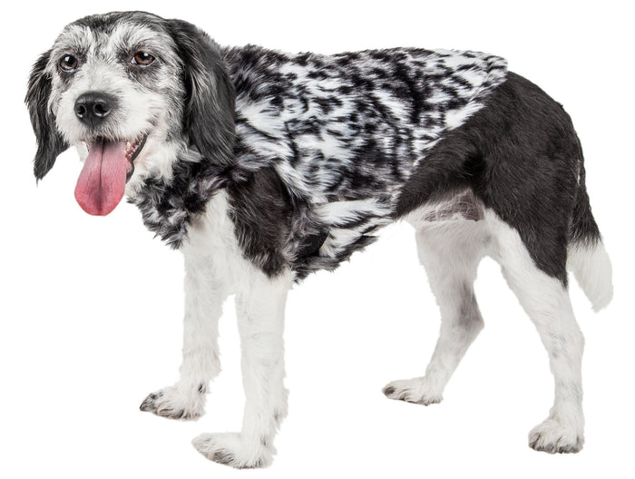 Pet Life ®  Luxe 'Paw Dropping' Designer Gray-Scale Tiger Pattern Mink Fur Dog Coat