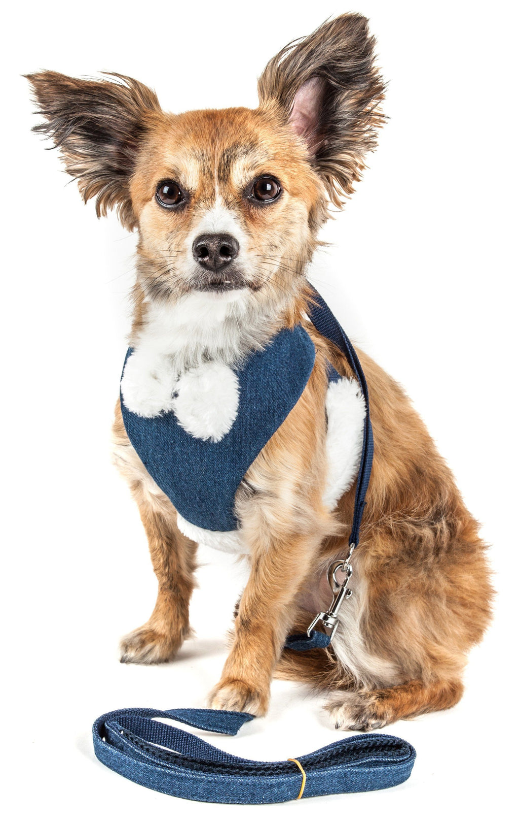 Pet Life ®  Luxe 'Pom Draper' 2-In-1 Mesh Reversed Adjustable Dog Harness-Leash W/ Pom-Pom Bowtie X-Small