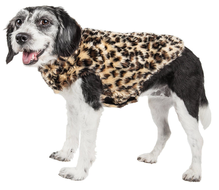 Pet Life ®  Luxe 'Poocheetah' Cheetah-Spotted Designer Mink Fur Dog Coat