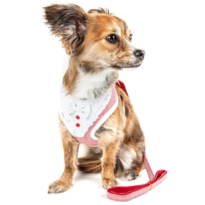 Pet Life ®  Luxe 'Spawling' 2-In-1 Mesh Reversed Adjustable Dog Harness-Leash W/ Fashion Bowtie X-Small Red