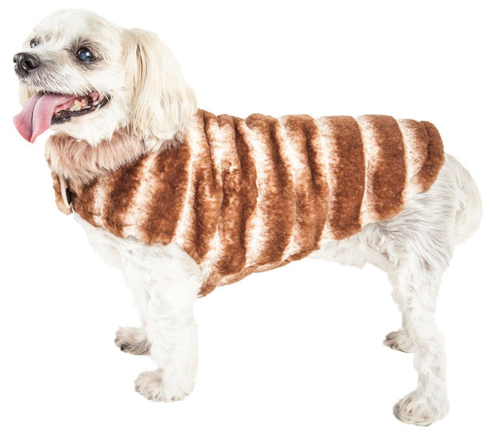 Pet Life ® Luxe 'Tira-Poochoo' Tiramisu Patterned Mink Fur Designer Dog Jacket