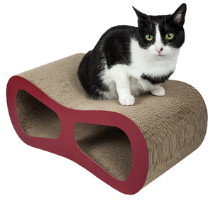 Pet Life ® 'Modiche' Premium Quality Modern Designer Kitty Cat Scratcher Lounger Lounge with Catnip Red