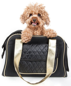 Pet Life ® Mystique Airline Approved Fashion Designer Travel Pet Dog Carrier w/ Pouch Black