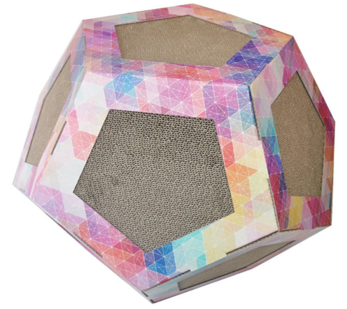 Pet Life ® 'Octagon Puzzle' Designer Premium Quality Kitty Cat Scratcher Lounge Toy & H...