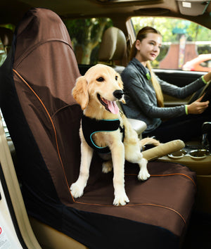 Pet Life ® 'Open Road' Single Seated Safety Child Pet Cat Dog Car Seat Carseat Cover Protector Brown