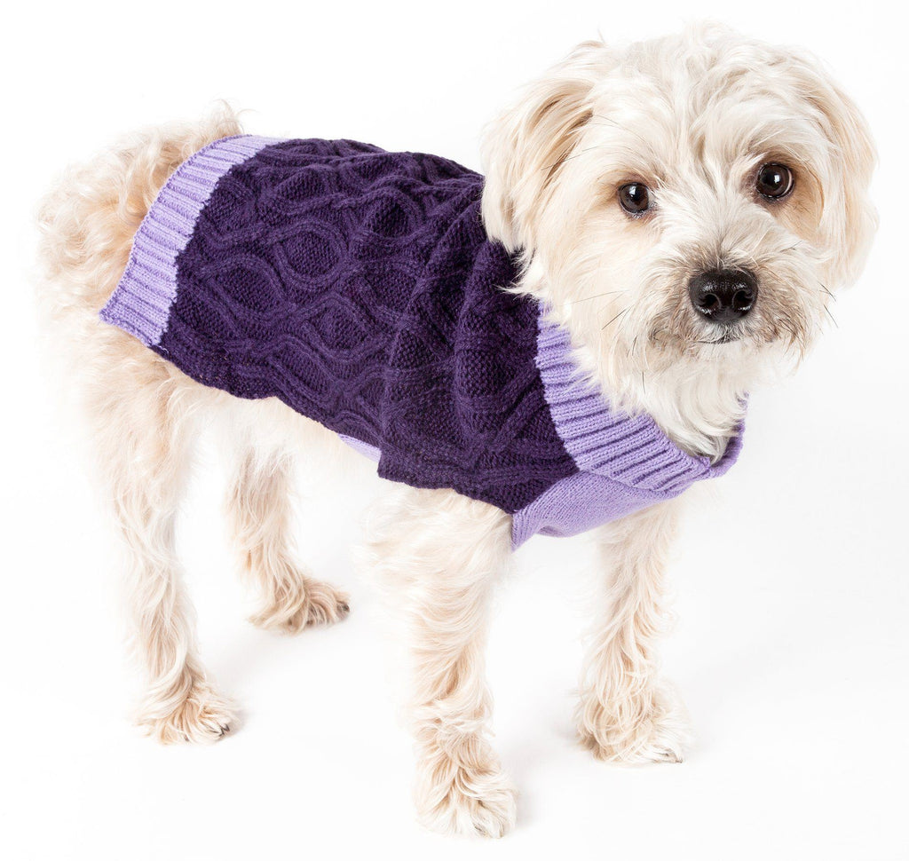 Pet Life ® Oval Weaved Heavy Knitted Fashion Designer Dog Sweater X-Small