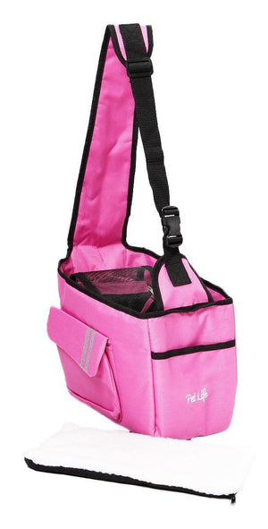Pet Life ® Over-The-Shoulder Back-Supportive Fashion Sporty Pet Dog Carrier w/ Pouch Pink