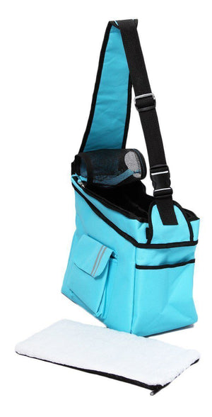 Pet Life ® Over-The-Shoulder Back-Supportive Fashion Sporty Pet Dog Carrier w/ Pouch Light Blue