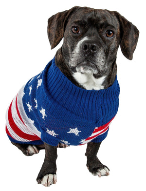 Pet Life ® 'Patriot Independence Star' Heavy Knitted Fashion Ribbed Turtle Neck Dog Sweater