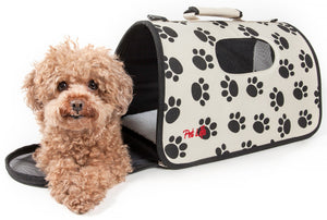 Pet Life ® Paw Patterned Airline Approved Zippered Folding Collapsible Travel Pet Dog Carrier Medium Cream & Black
