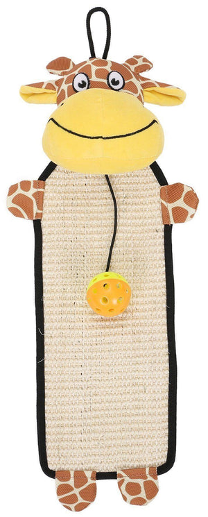Pet Life ® 'Paw-Pleasant' Hanging Sisal & Jute Carpet Kitty Cat Scratcher with Toy Brown / Yellow