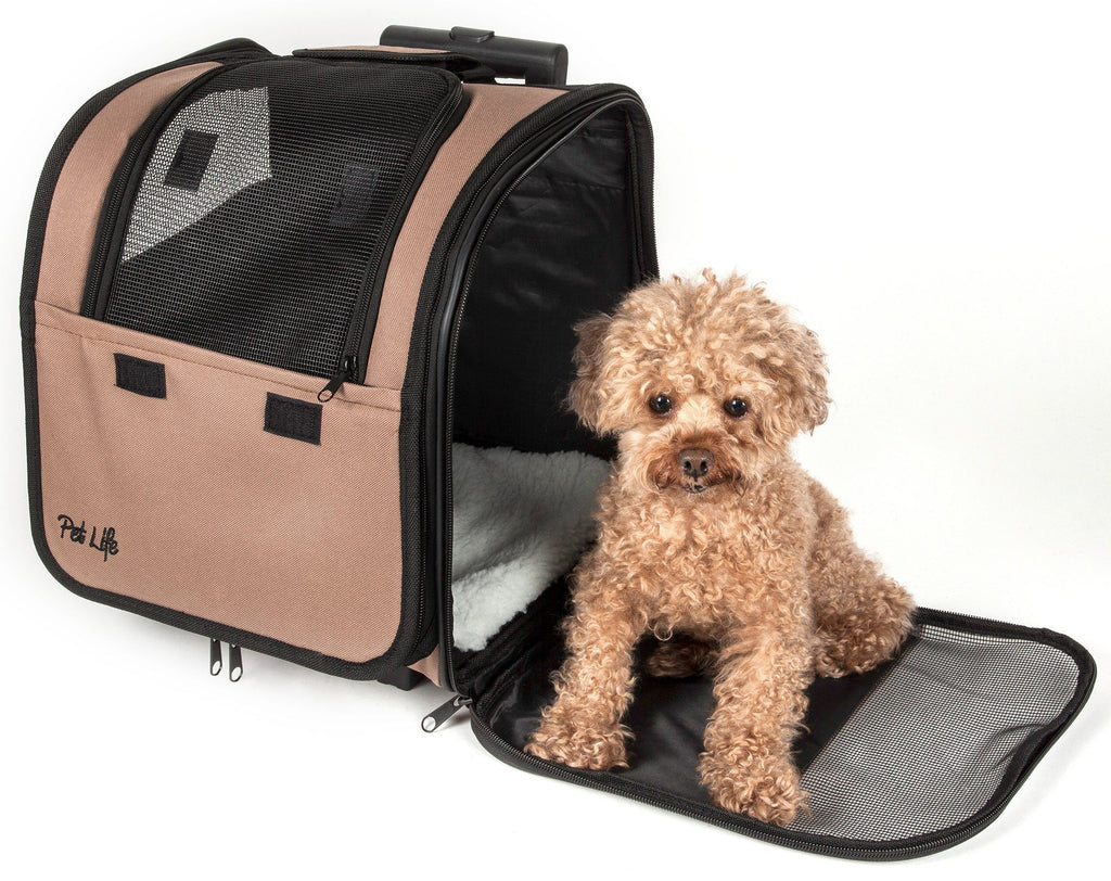 Pet Life ® 'Pawdon Me '  Wheeled Airline Approved Travel Collapsible Pet Dog Carrier Kh...