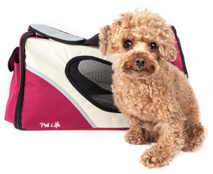 Pet Life ® 'Phenom-Air' Airline Approved Collapsible Fashion Designer Pet Dog Carrier Red, White