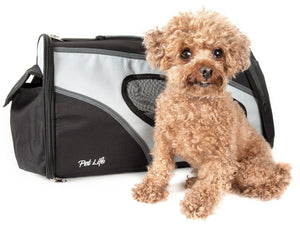 Pet Life ® 'Phenom-Air' Airline Approved Collapsible Fashion Designer Pet Dog Carrier Black. White