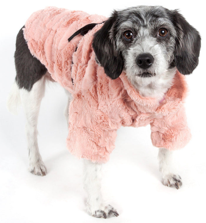 Pet Life ® 'Pink-Mink' Luxury Designer Dog Coat