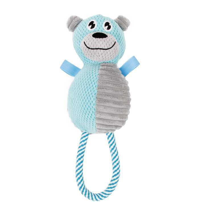 Pet Life ® 'Huggabear' Natural Jute Squeaking and Tug Plush Dog Toy Blue/Grey