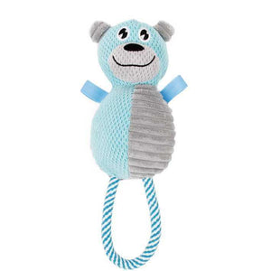 Pet Life ® 'Huggabear' Natural Jute Squeaking and Tug Plush Dog Toy